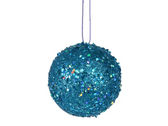 Fancy Blue Holographic Glitter Drenched Christmas Ball Ornament 4