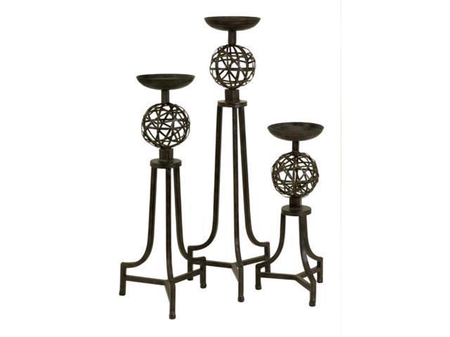 Set of 3 Carolyn Kinder Elaborate Metal Orb Candle Holders