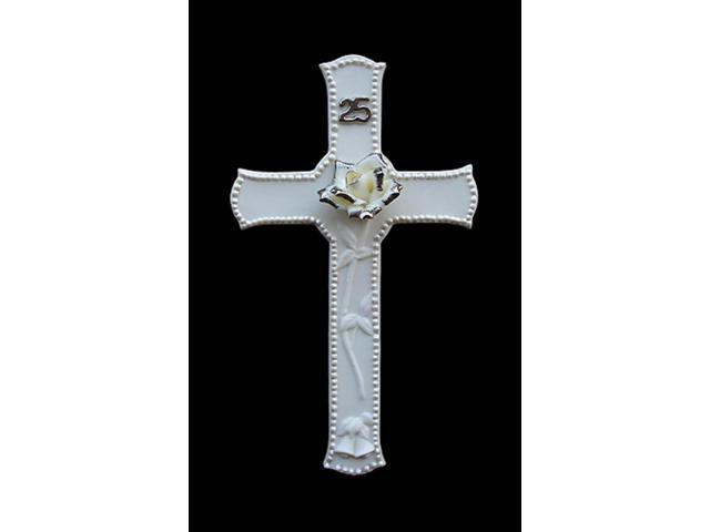 Pack of 24 Porcelain 25th Wedding Anniversary Religious Wall Crosses