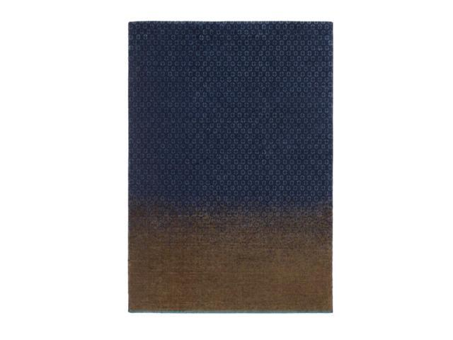 8.15' x 11.4' Sirocco Blue and Brown Tencel and New Zealand Wool Area Throw Rug