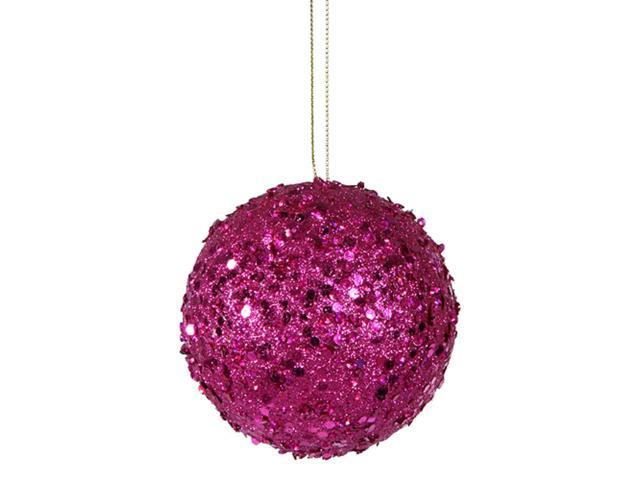 Fancy Fuschia Holographic Glitter Drenched Christmas Ball Ornament 4