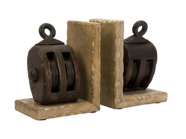 Beautiful Vintage Look Set of Rustic Wooden Pulley Bookends 7