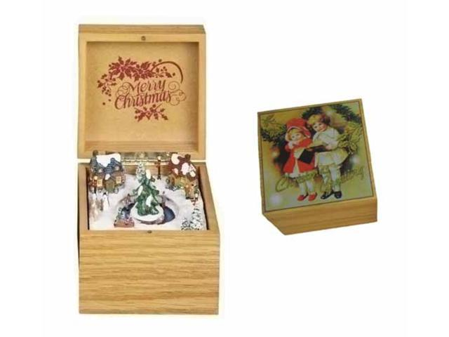 Light Brown Retro Animated Christmas Village Music Box