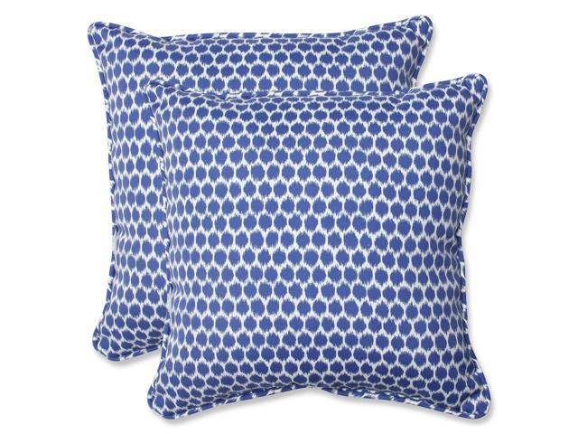 Set of 2 Ruche D abeille Royal Blue and White Outdoor Corded Square Throw Pillows 18.5