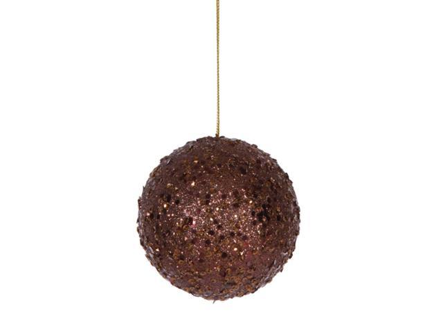 Fancy Chocolate Brown Holographic Glitter Drenched Christmas Ball Ornament 3