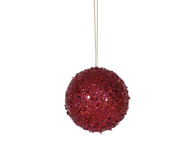 Fancy Deep Red Holographic Glitter Drenched Christmas Ball Ornament 3