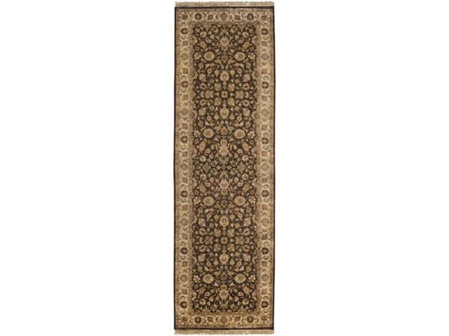 2.5' x 8' Aberdeen Dark Khaki and Caramel Rectangular Wool Area Runner Throw Rug
