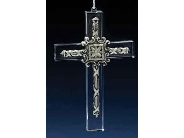 Icy Crystal Silver Detailed Cross Christmas Ornament with Floral Design