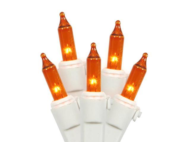 Set of 100 Amber Mini Christmas Lights - White Wire