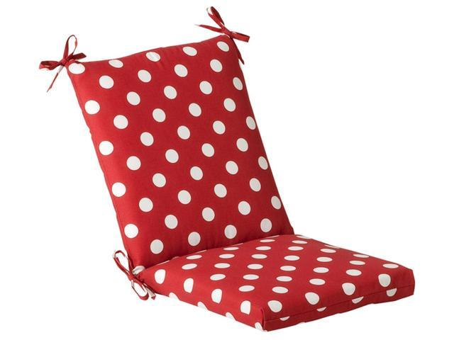 Outdoor Patio Furniture Mid Back Chair Cushion - Red & White Polka Dot