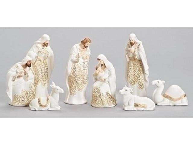 Gold lace embossed religious christmas porcelain nativity figurine set