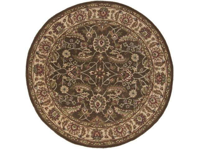 4' Tiberius Dark Olive Green and Chocolate Wool Round Area Throw Rug