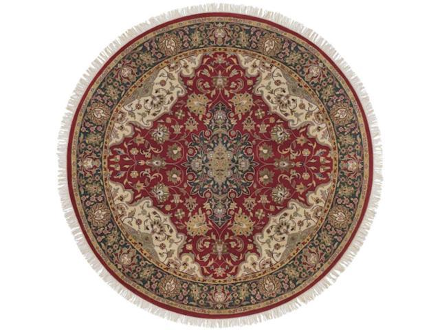 8' Damoh Maroon, Sepia and Coffee Brown Wool Round Area Throw Rug