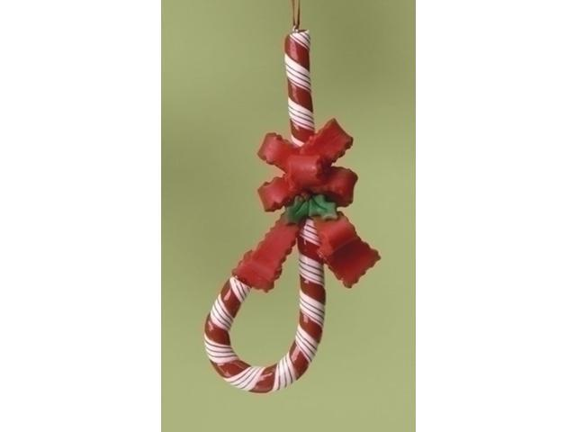 J Shape Upside Down Candy Cane For Jesus with Bow Christmas Ornament