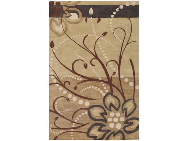 8' x 11' Cannonball Tree Golden Brown and Dark Khaki Wool Rectangular Area Rug