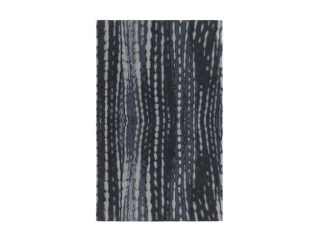 3.5' x 5.5' Mystery Lines Nighttime Blue, Black and Storm Gray Wool Area Throw Rug