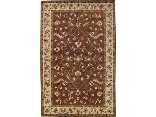 9' x 13' Hua Duo Twilight Mauve and Golden Brown Rectangular Wool Area Throw Rug