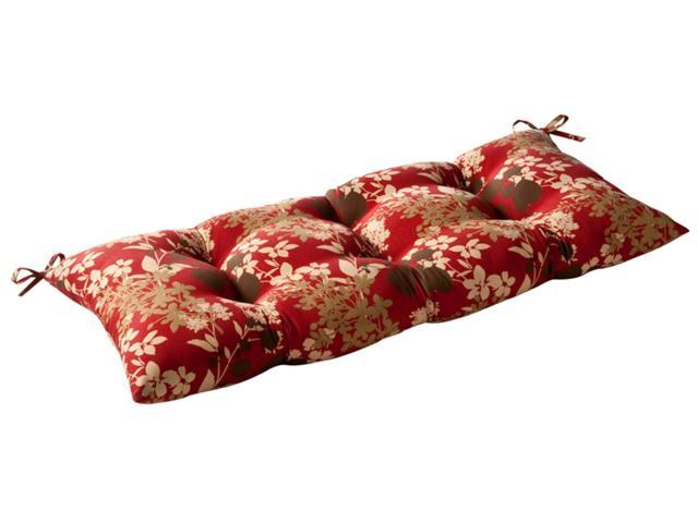 Outdoor Patio Furniture Tufted Bench Loveseat Cushion - Tropical Red Flower
