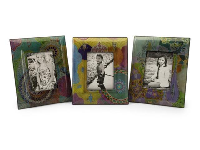 Set of 3 Vibrant Colorful Playful Paisley Photo Frames 5 x 7