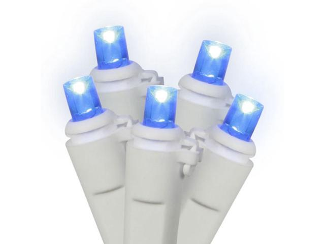 Set of 50 LED Blue Wide Angle Christmas Lights - White Wire