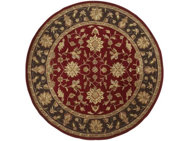 8' Salamanca Wine Maroon Red and Dark Olive Green Wool Round Area Throw Rug
