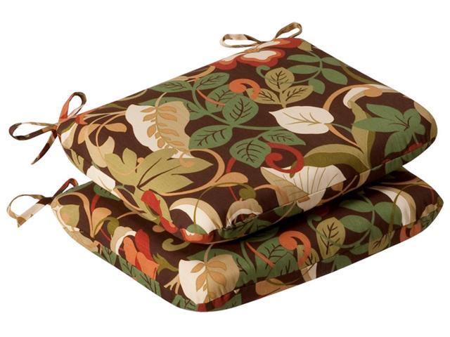 Pack of 2 Outdoor Patio Furniture Chair Seat Cushions - Floral Cafe