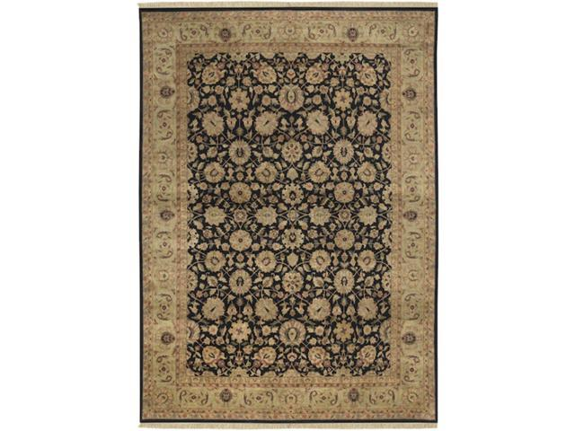 8.5' x 11.5' Moroccan Courtyard Black Auburn and Fawn Wool Area Throw Rug