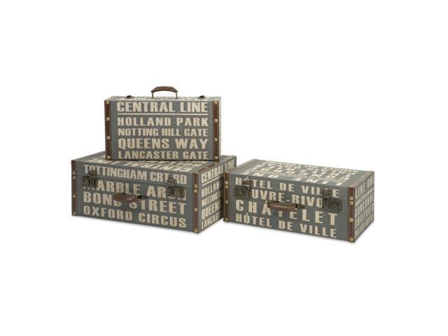Set of 3 Vintage-Style Travel Themed Text Patterned Storage Keepsake Boxes
