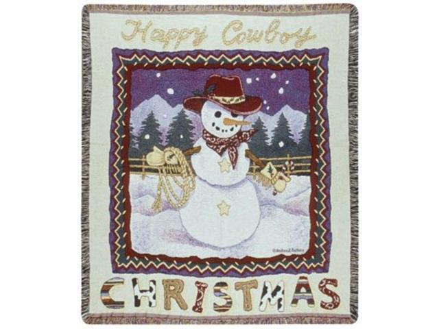 Happy Cowboy Snowman Christmas Tapestry Throw 50