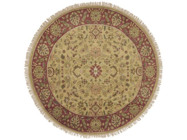 8' Eastern Jewels Auburn and Cumin Wool Round Area Throw Rug
