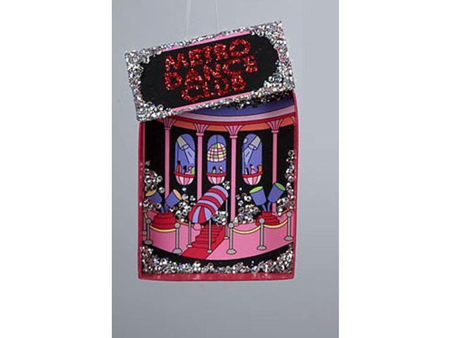 Fashion Avenue Hot Pink Glitter Metro Dance Club Christmas Ornament 5