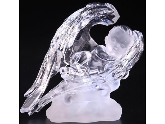 Icy Crystal LED Lighted Sleeping Baby in Wings Christmas Figure