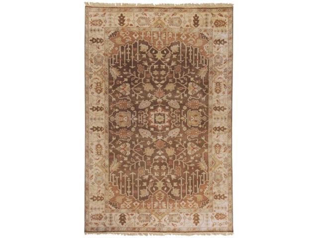 3.75' x 5.75' Kahverengi Taupe Beige & Biscotti Rectangular Wool Area Throw Rug
