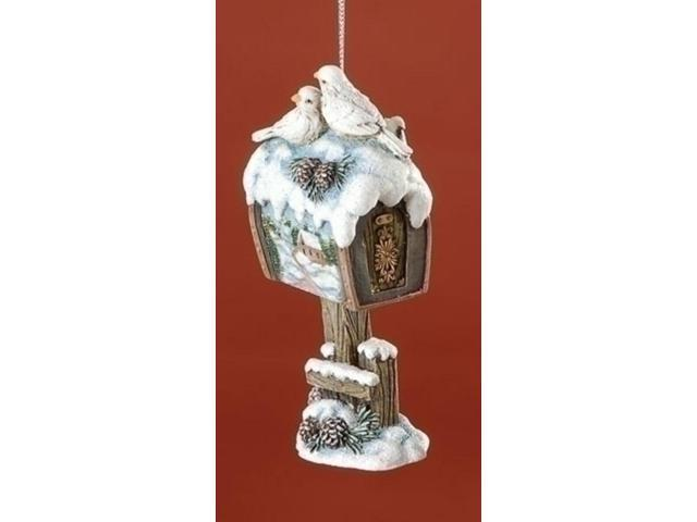 Snowfall Valley Doves on Snowy Mailbox Christmas Ornament 4.25