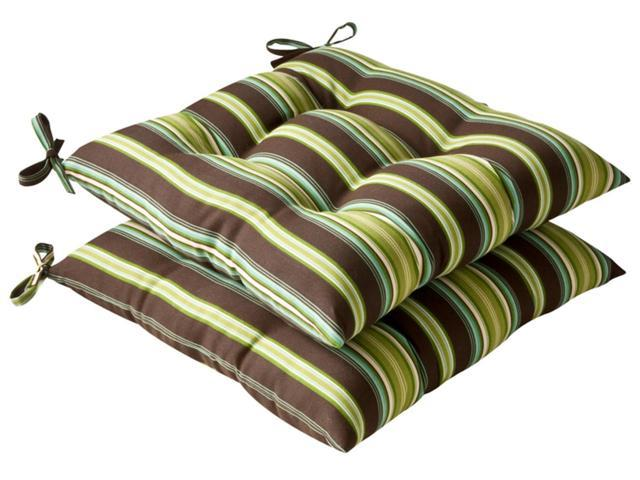 Pack of 2 Outdoor Patio Tufted Chair Seat Cushions - Tropical Green Stripe