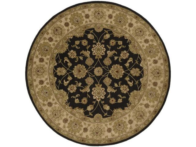 8' Campeche Coffee Bean Brown and Jet Black Wool Round Area Throw Rug
