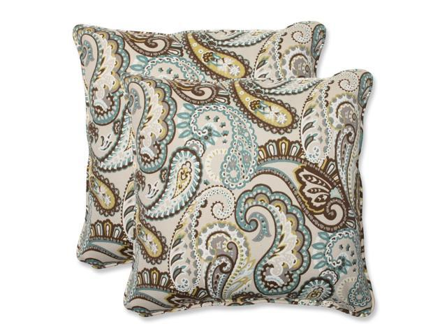 Light Blue And Brown Decorative Pillows : Set of 2 Paisley Giardino Light Blue and Brown Outdoor Corded Square Throw Pillows 18.5