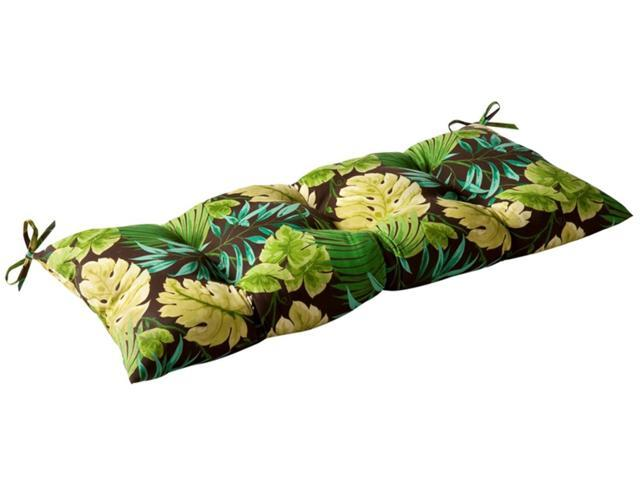 Outdoor Patio Furniture Tufted Bench Loveseat Cushion - Green Tropical