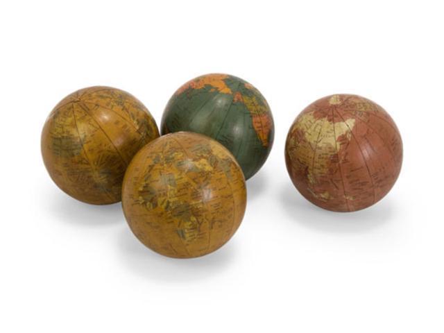 Set of 4 Antique Finish Decorative Globe Spheres 4