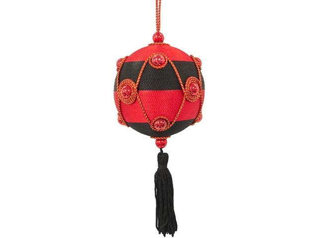 Black & Red Ball Shaped Christmas Ornament With Tassel
