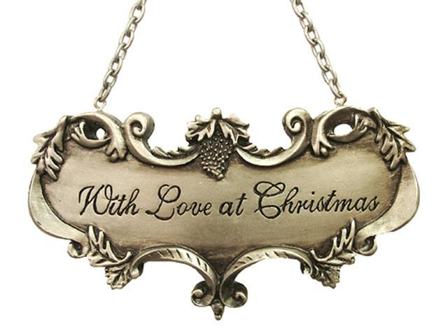 With Love At Christmas Silver Wine Label Christmas Ornament