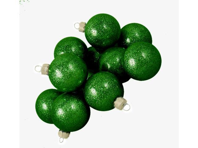 Club Pack of 48 Green Envy Glitter Glass Ball Christmas Ornaments 2