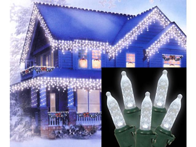 Set of 70 LED Cool White Clear M5 Mini Icicle Christmas Lights - Green Wire