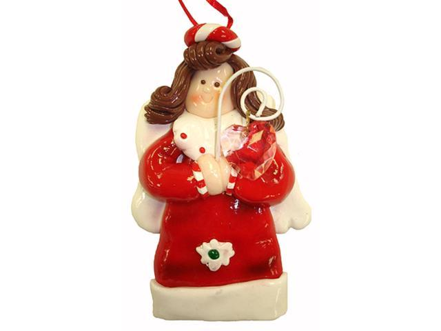 Red & White Angel With Pink Heart Gem Christmas Ornament
