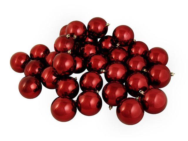 32ct Shiny Burgundy Shatterproof Christmas Ball Ornaments 3.25