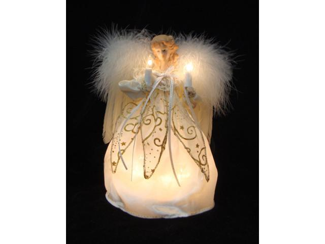 Ivory and Gold Angel with Feather Wings Christmas Tree Topper - Clear Lights