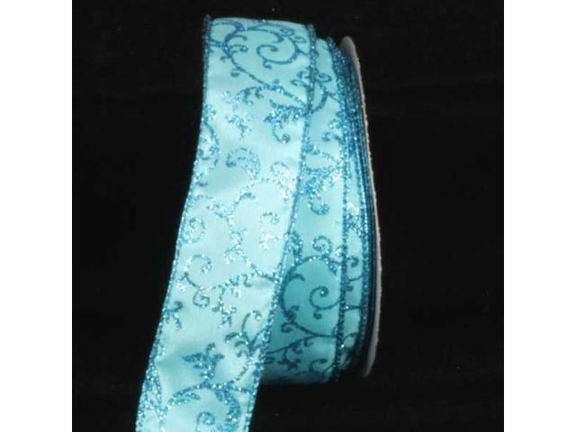 Turquoise with Blue Filigree Print Wired Craft Ribbon 1.5