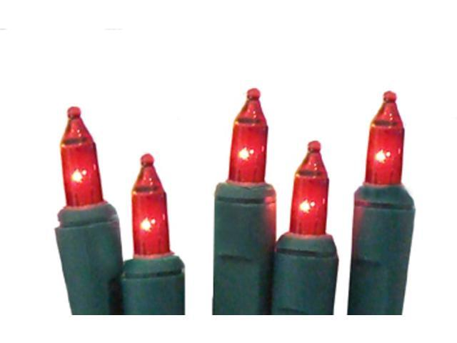 Set of 20 Battery Operated Red Mini Christmas Lights - Green Wire