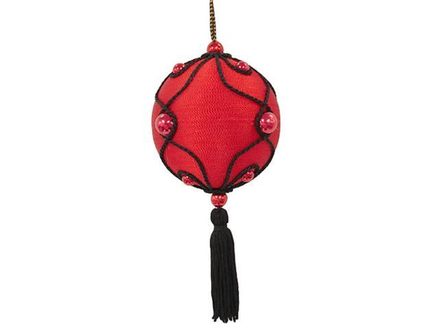 Red & Black Beaded Christmas Ball Ornament With Tassel #65644