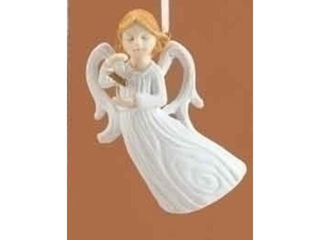 Winter's Beauty White Angel with Cross Christmas Ornament